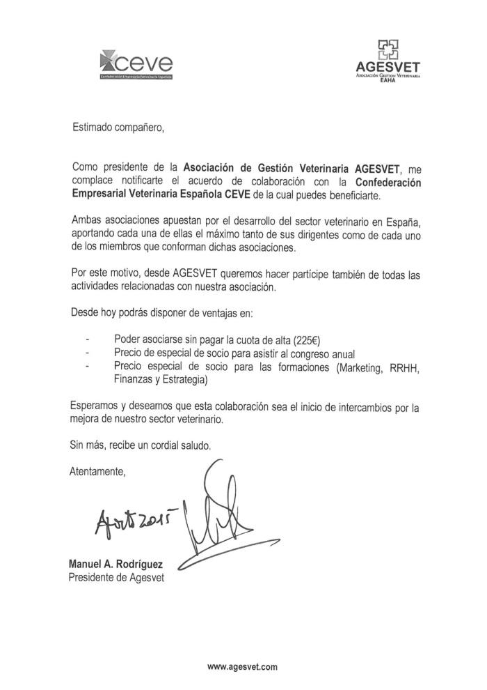 acuerdo colaboracion ceve agesvet