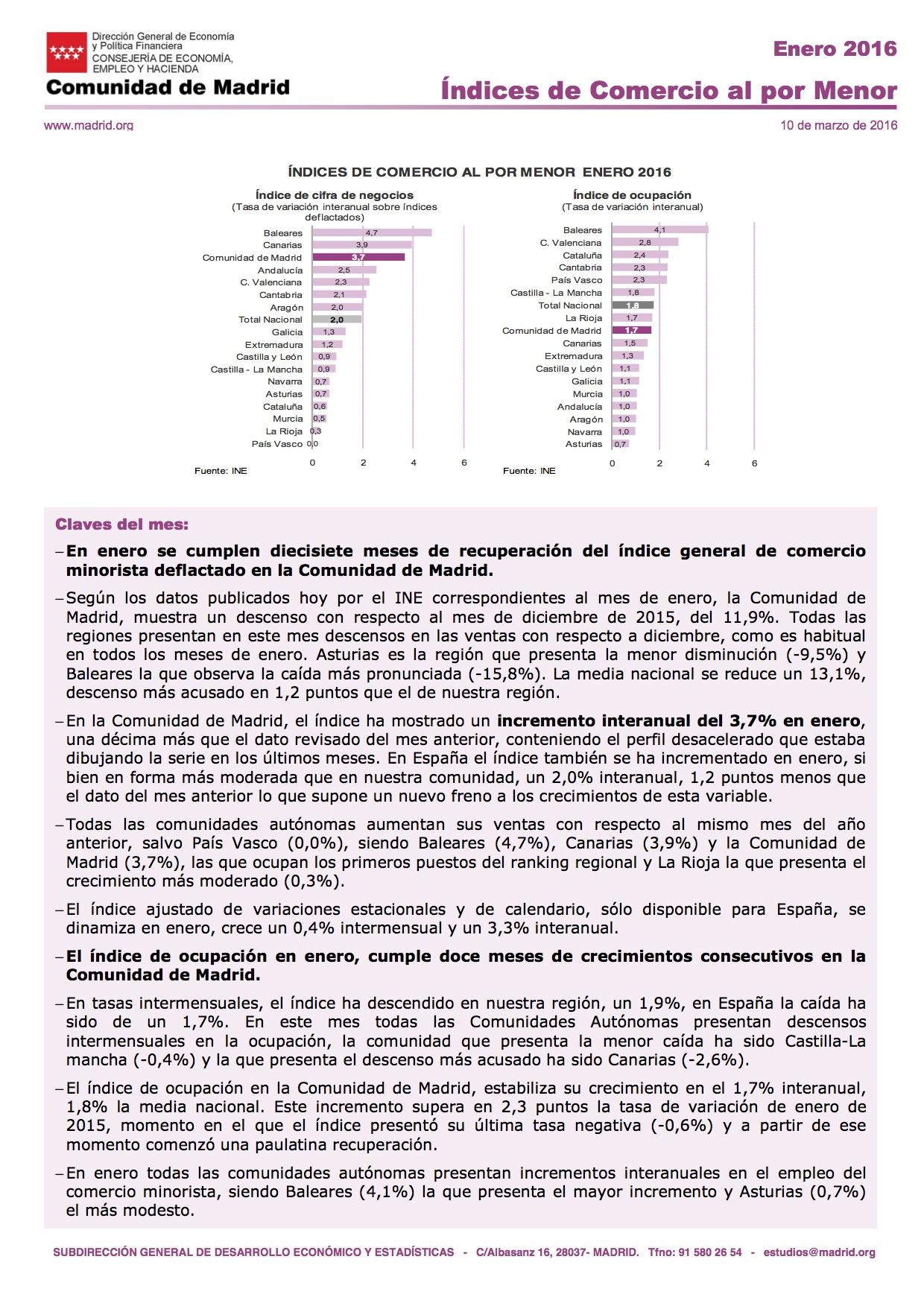 Nota ICM enero 2016 Comunidad de Madrid