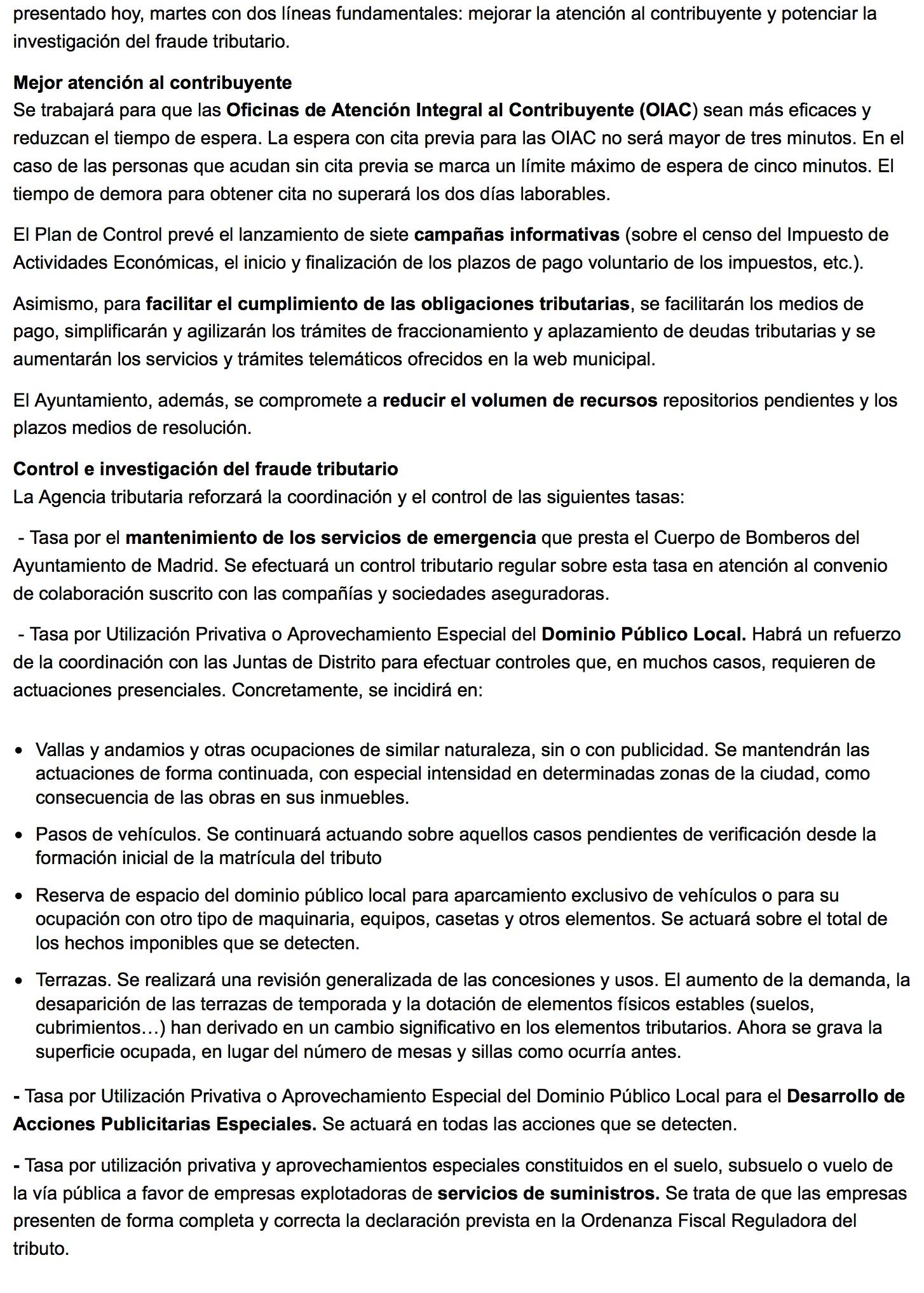 Plan de Control Tributario 2016 2 - Ayuntamiento de Madrid