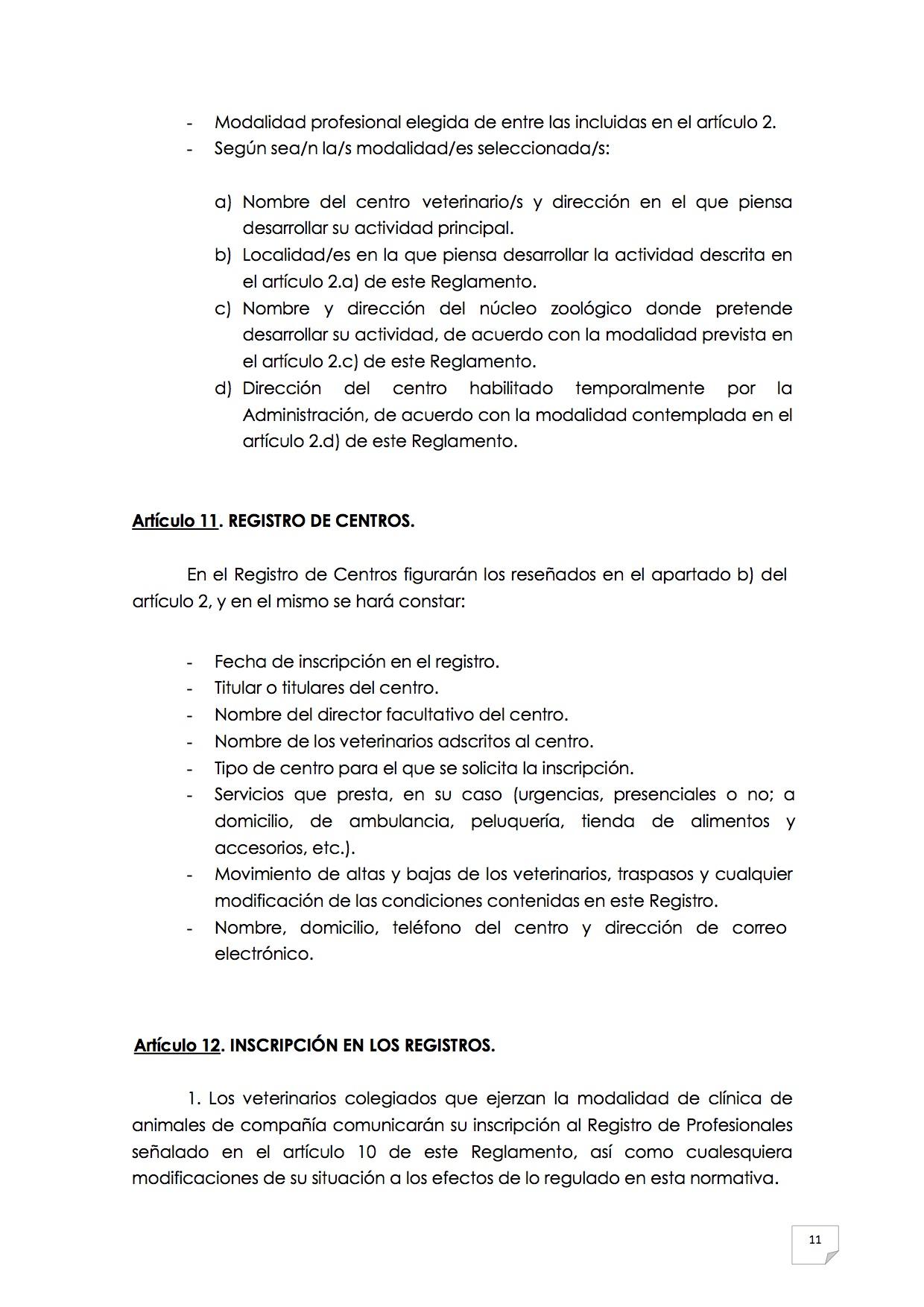 2015_07_11 12REGLAMENTO PARA EL EJERCICIO PROFESIONAL EN CLÍNICA DE ANIMALES DE COMPAÑÍA