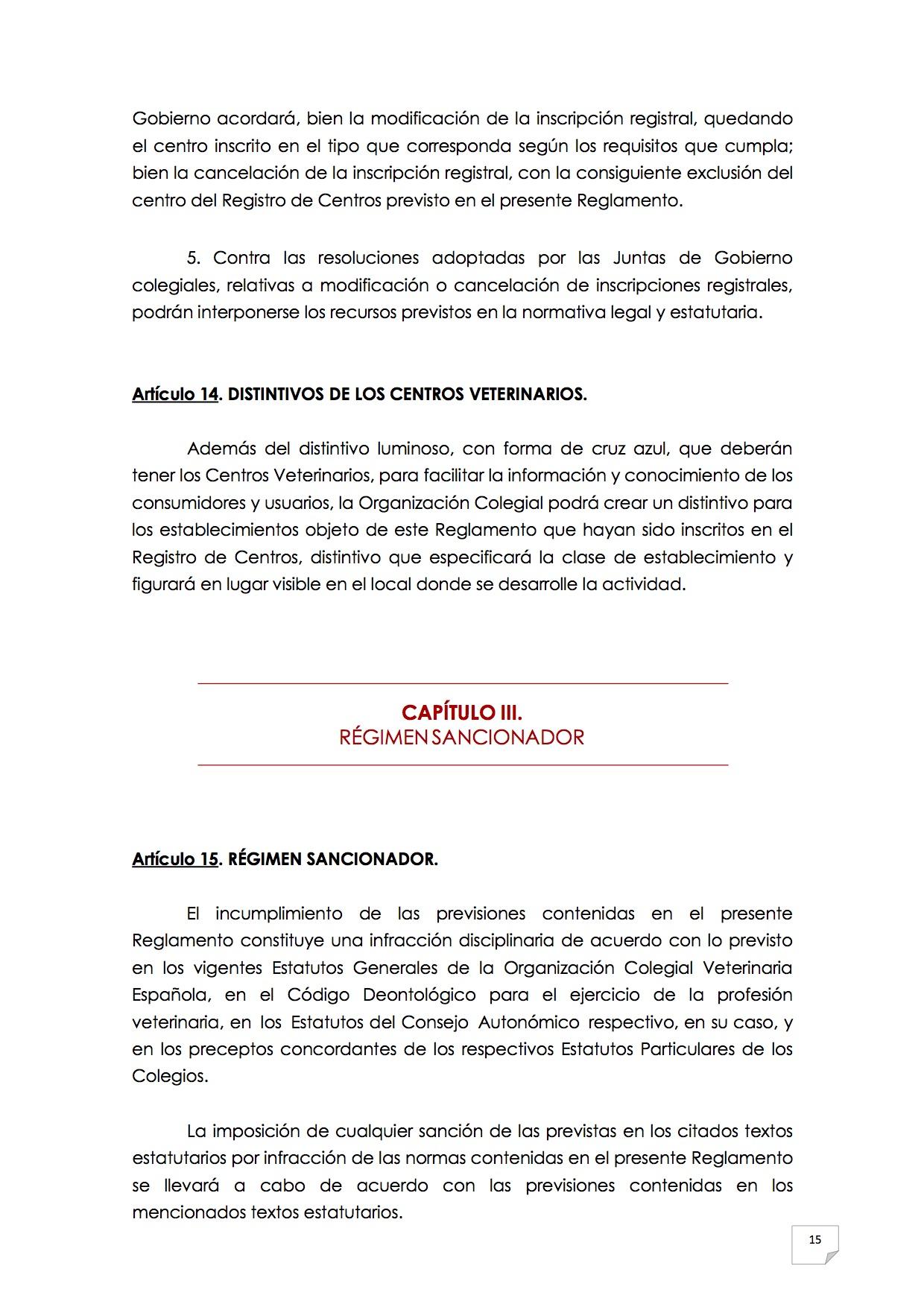 2015_07_11 16REGLAMENTO PARA EL EJERCICIO PROFESIONAL EN CLÍNICA DE ANIMALES DE COMPAÑÍA