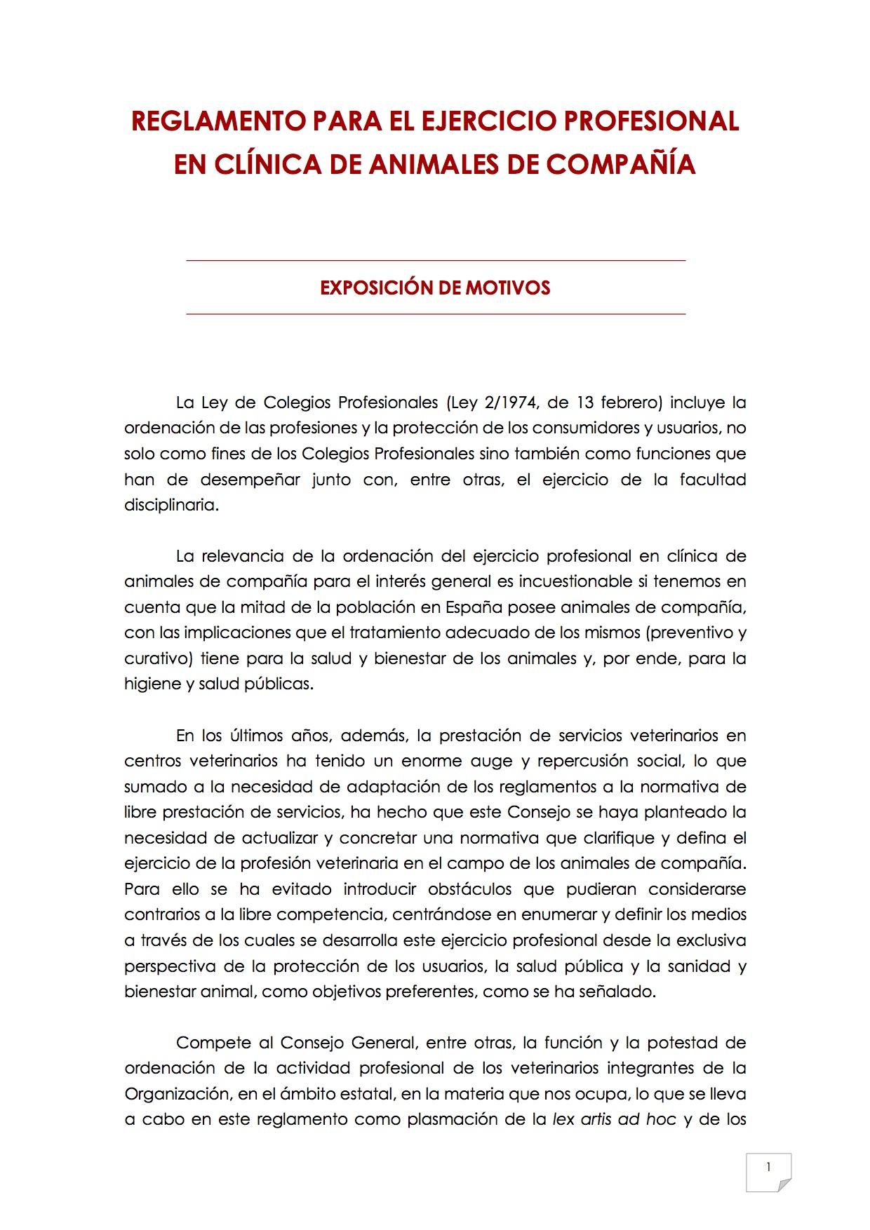 2015_07_11 2REGLAMENTO PARA EL EJERCICIO PROFESIONAL EN CLÍNICA DE ANIMALES DE COMPAÑÍA