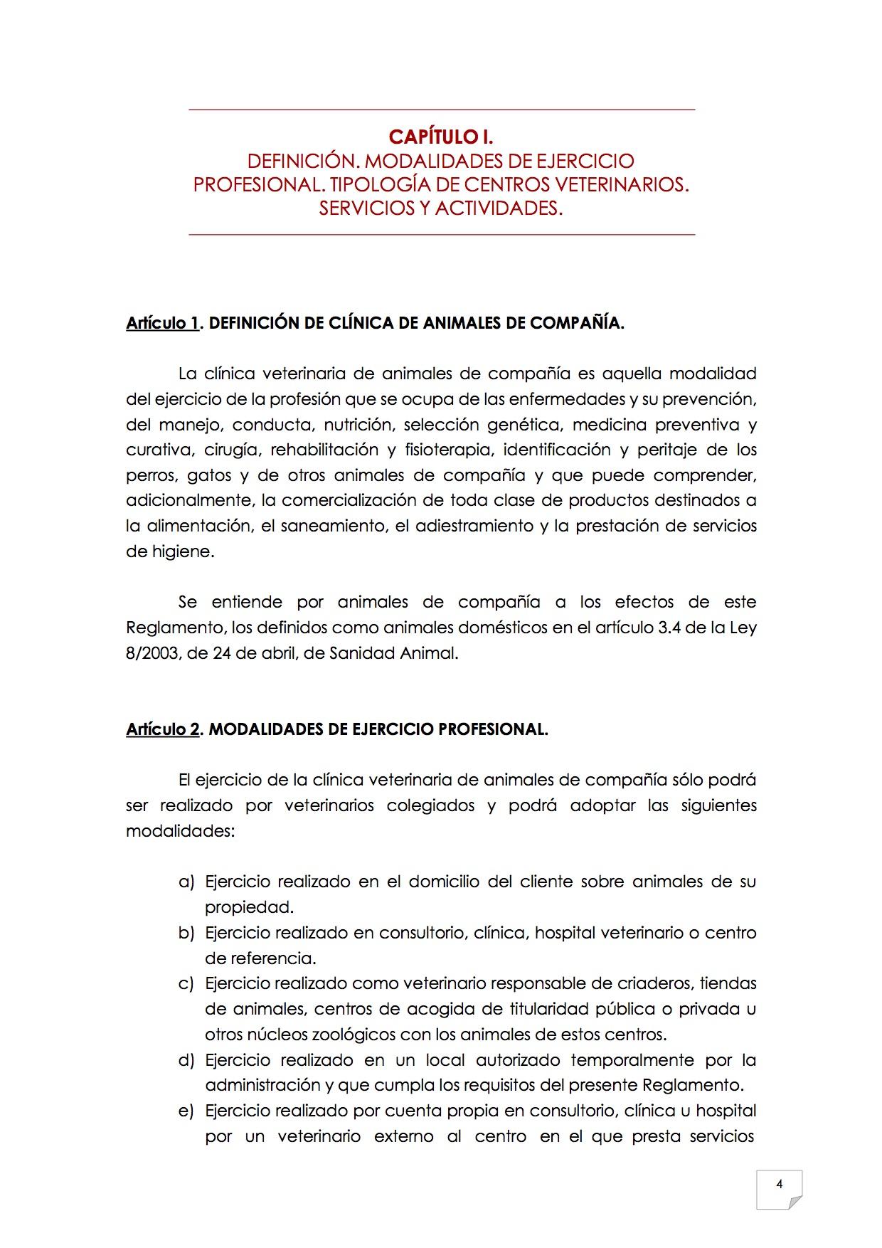 2015_07_11 5REGLAMENTO PARA EL EJERCICIO PROFESIONAL EN CLÍNICA DE ANIMALES DE COMPAÑÍA