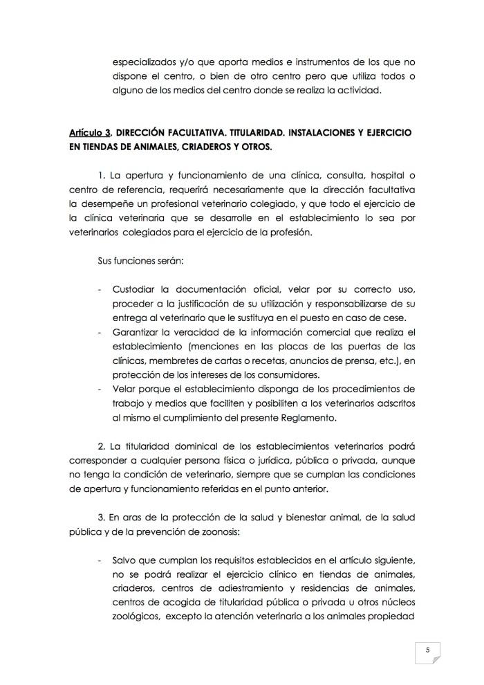 2015_07_11 6REGLAMENTO PARA EL EJERCICIO PROFESIONAL EN CLÍNICA DE ANIMALES DE COMPAÑÍA