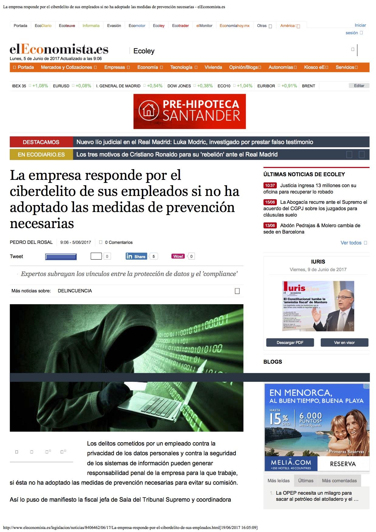 La empresa responde por el ciberdelito de sus empleados si no ha adoptado las medidas de prevención necesarias - elEconomista.es-2_1339